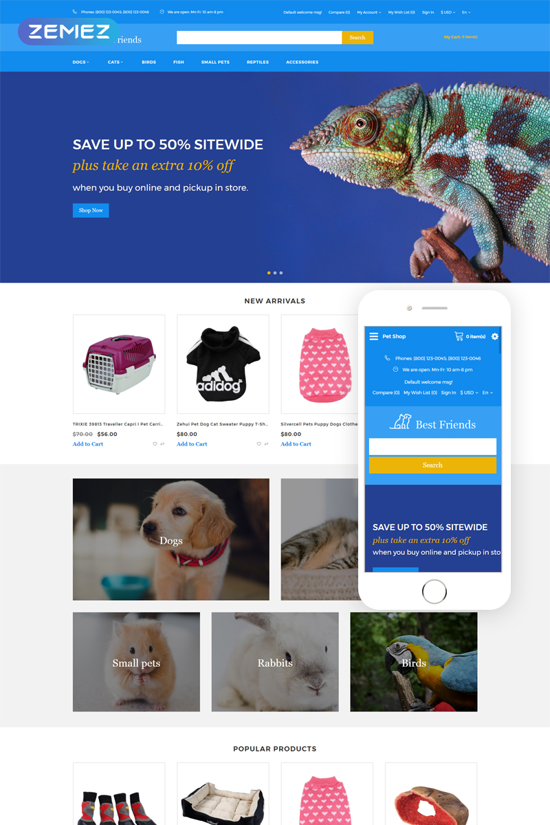 Best Friends - Animal Responsive Practical Template OpenCart №76293 - screenshot