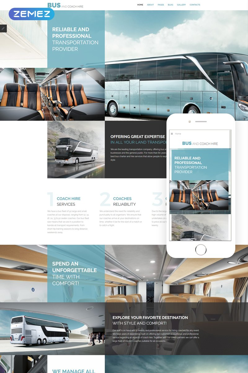 Bus and Coach Hire - Transportation Minimalistic Joomla Template