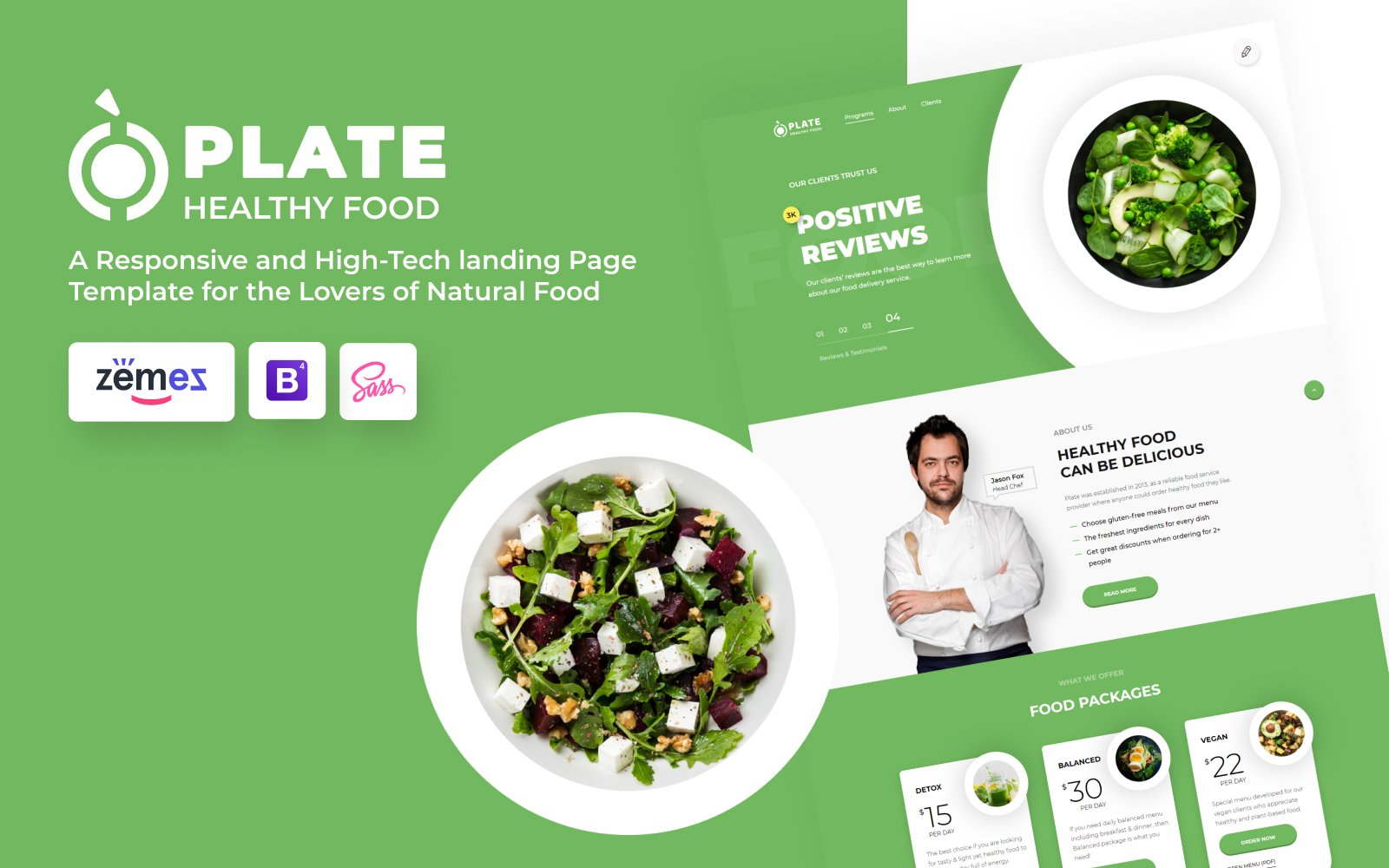 """Landing Page Template namens """"Plate - Healthy Food One Page Clean HTML"""" #76237"""