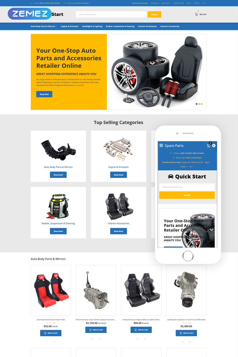 "Modello OpenCart Responsive #76289 ""Quick Start - Cars & Motorcycles E-commerce"" - screenshot"