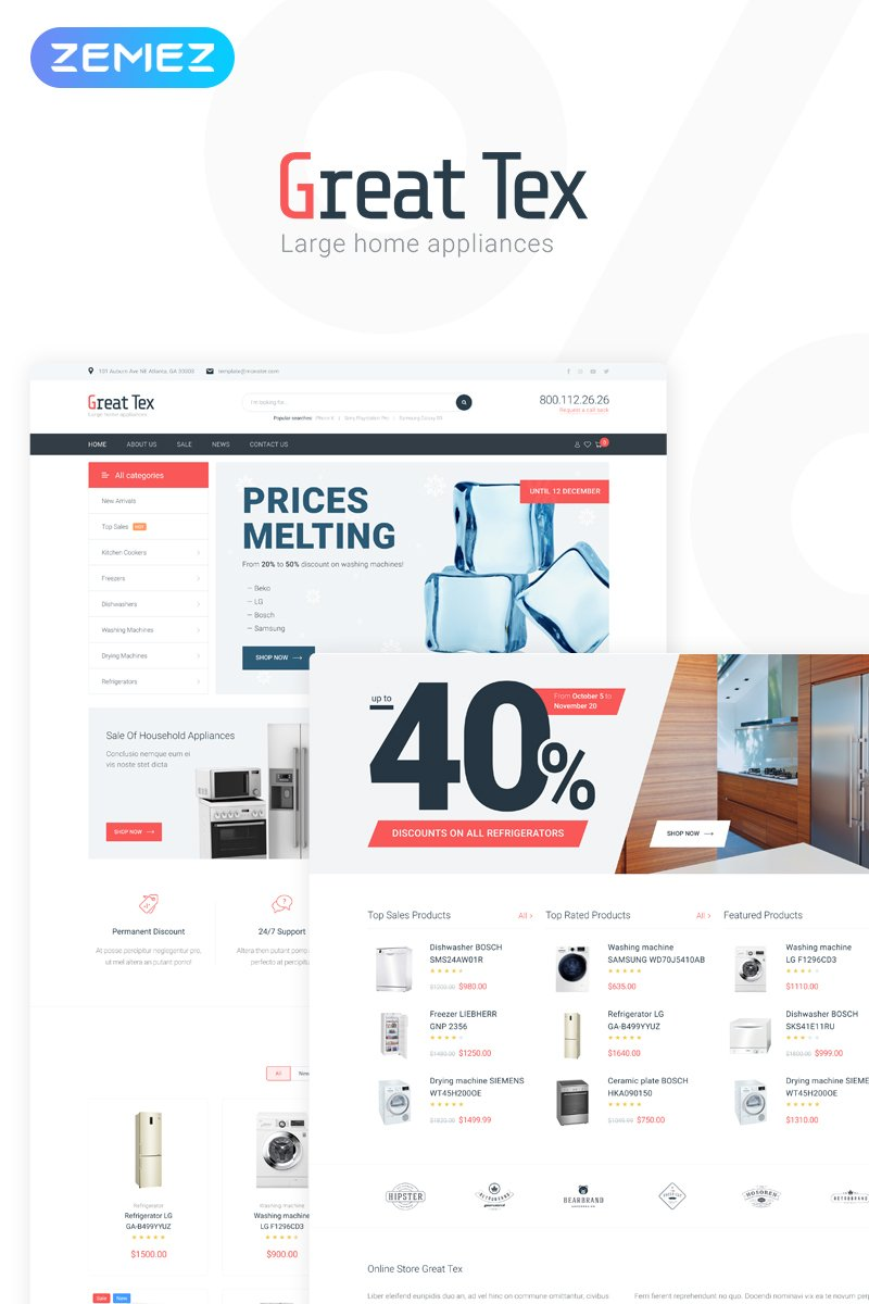 "Modello WooCommerce Responsive #76268 ""Great Tex - Home Appliances Online Store Multipurpose Clean Elementor"""