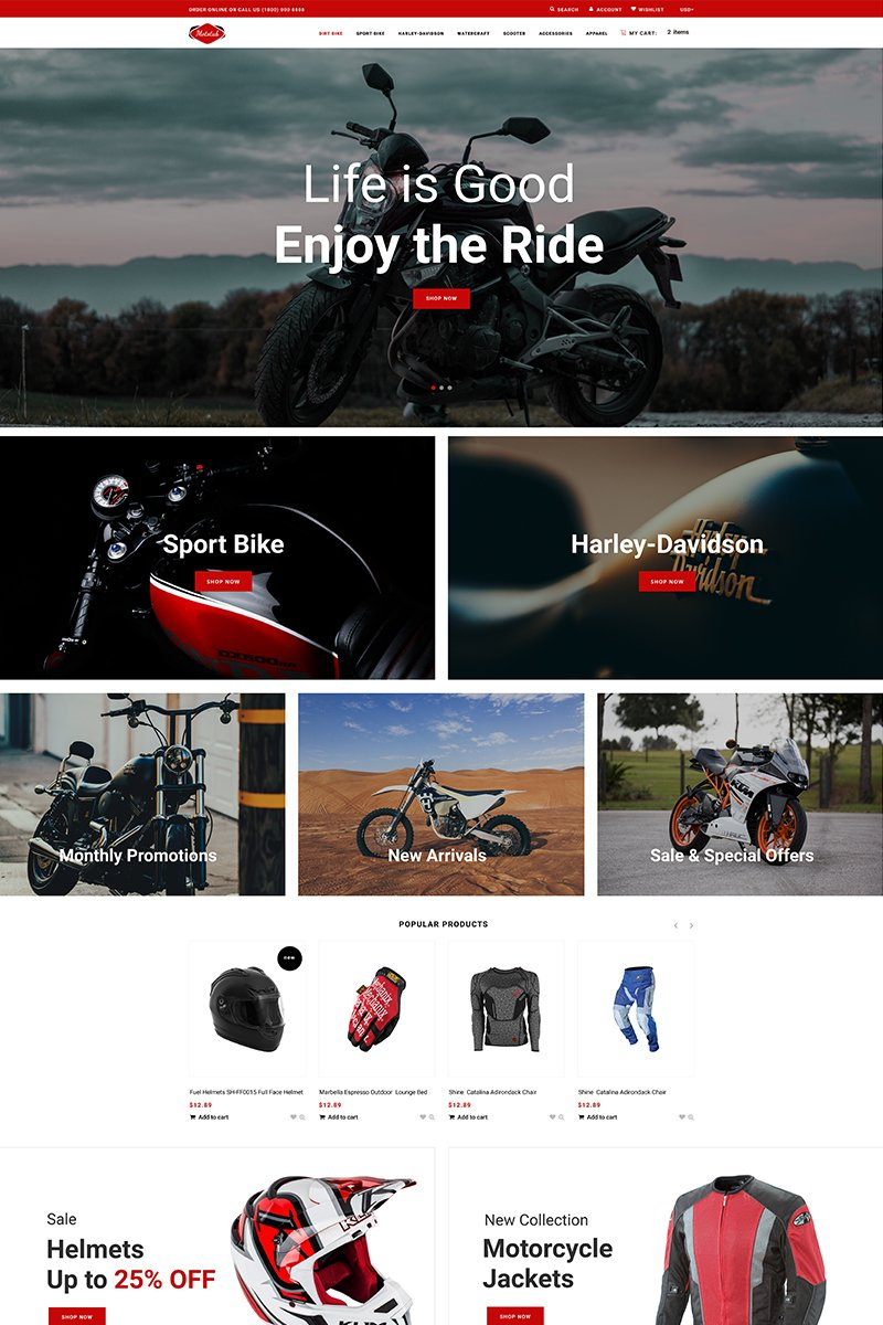 """Mototab - Cars & Motorcycle Modern"" Responsive Shopify Thema №76275 - screenshot"