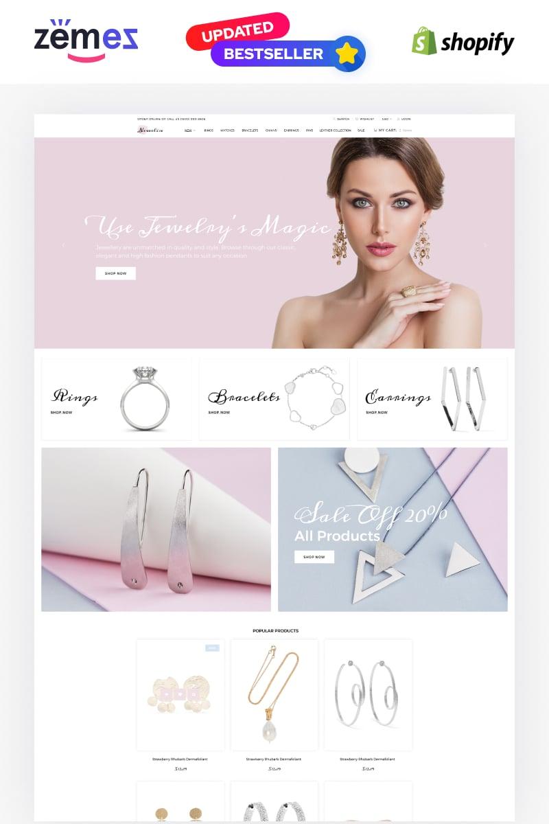 """Newelise - Jewelry Elegant Minimalistic"" - адаптивний Shopify шаблон №76258"