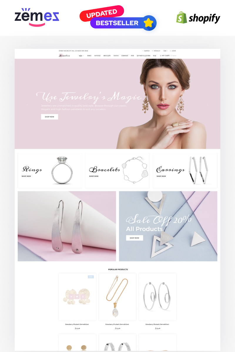 """Newelise - Jewelry Elegant Minimalistic"" 响应式Shopify模板 #76258"