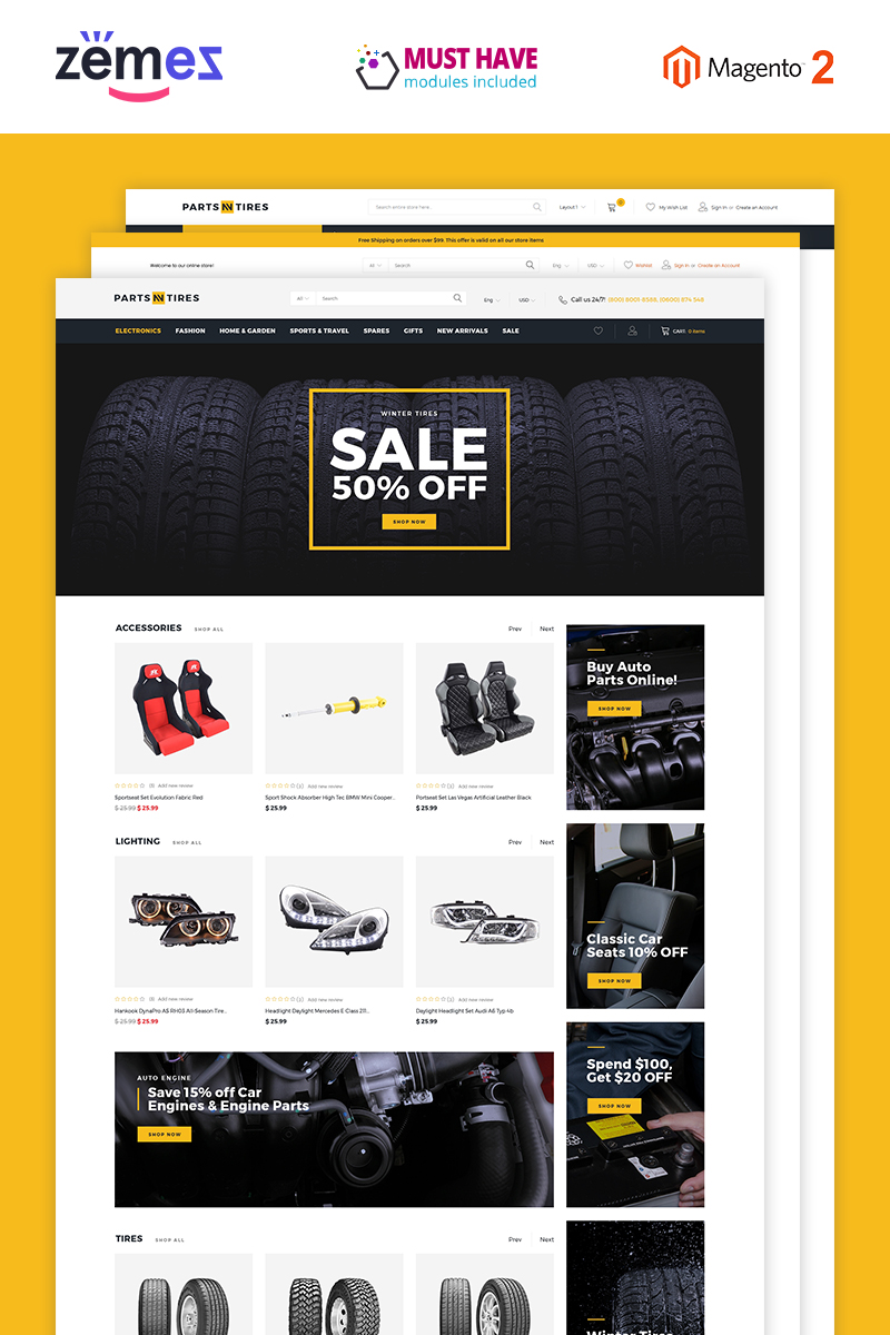 """""""Parts'n'Tires - Car Tuning Clean Responsive"""" Magento Thema №76228"""