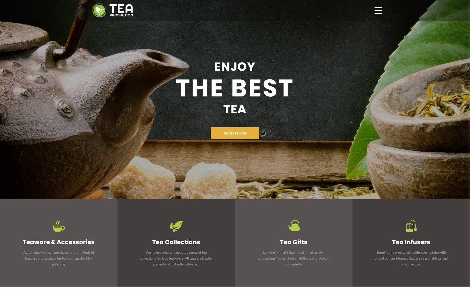 "Plantilla Web ""TEA Production - Tea Shop Multipage Modern HTML"" #76270"