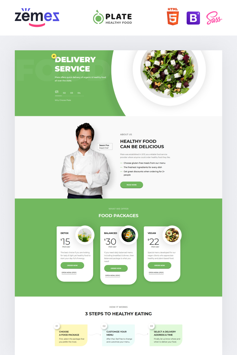 """Plate - Healthy Food One Page Clean HTML"" modèle  de page d'atterrissage adaptatif #76237"