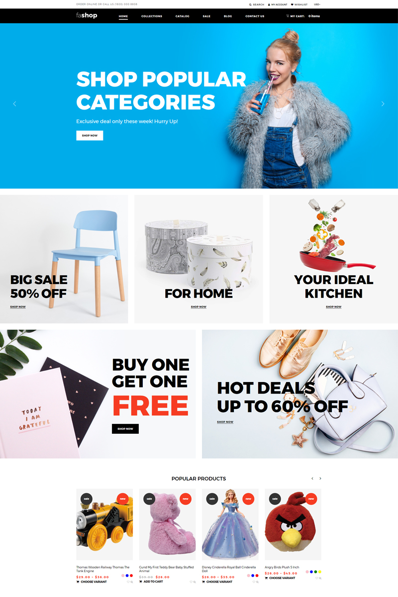 Responsivt faShop - Wholesale Store Ready-To-Use Clean Shopify-tema #76274