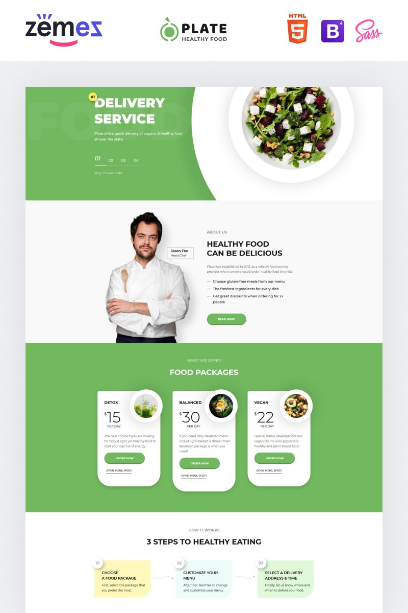 Responsivt Plate - Healthy Food One Page Clean HTML Landing Page-mall #76237 - skärmbild