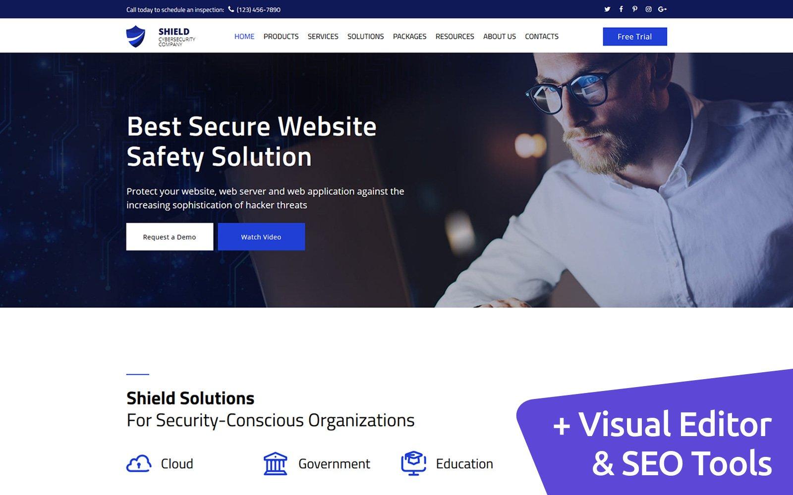 Reszponzív Shield - Cyber Security Moto CMS 3 sablon 76279
