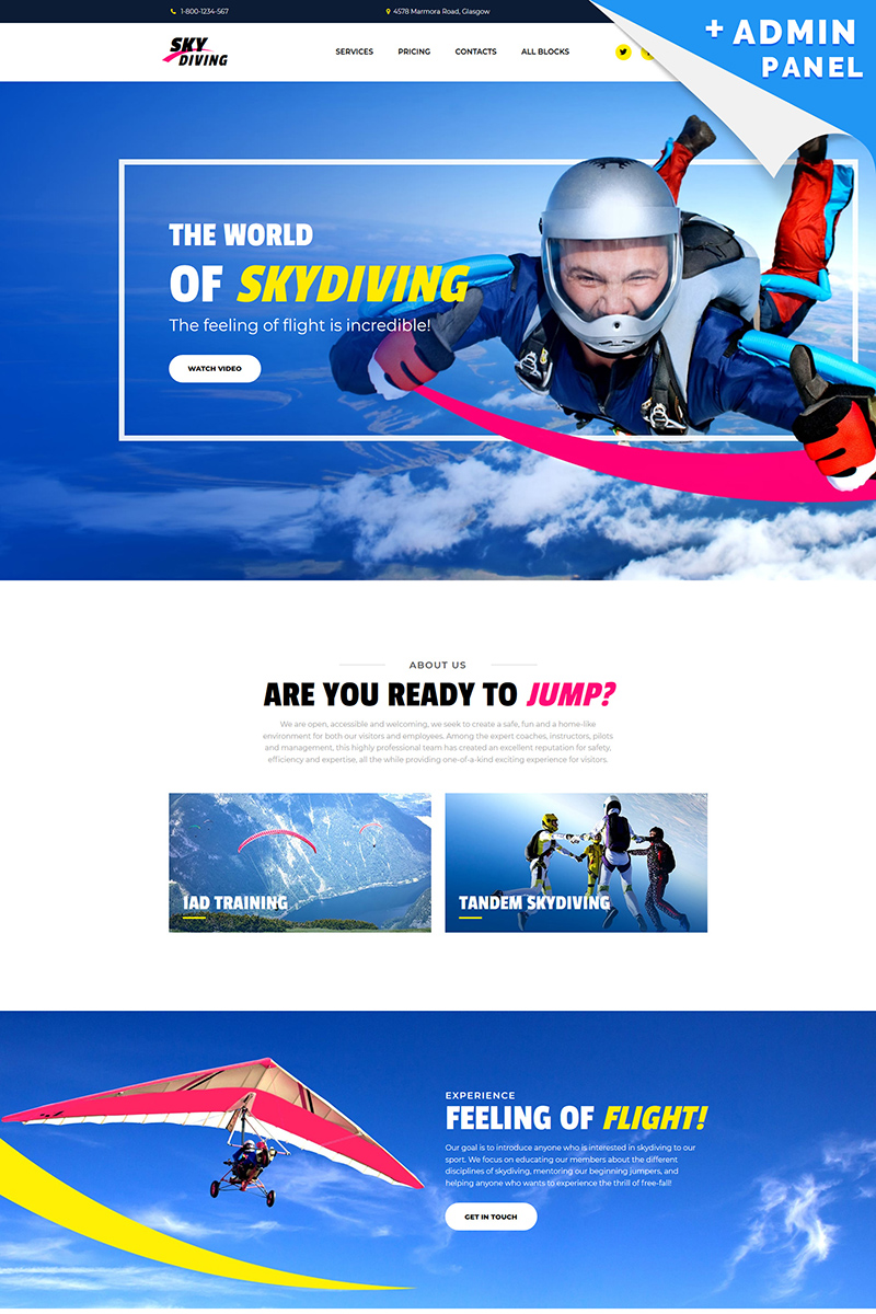 Reszponzív Skydiving MotoCMS 3 Nyítóoldal sablon 76296