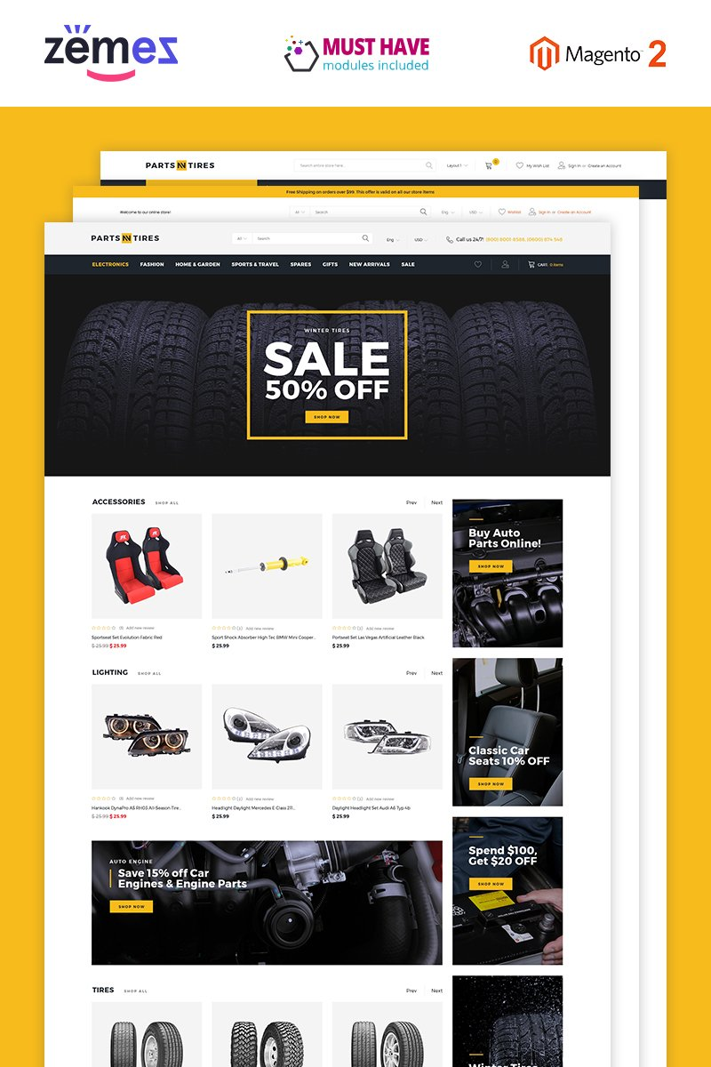 "Tema Magento ""Parts'n'Tires - Car Tuning Clean Responsive"" #76228"