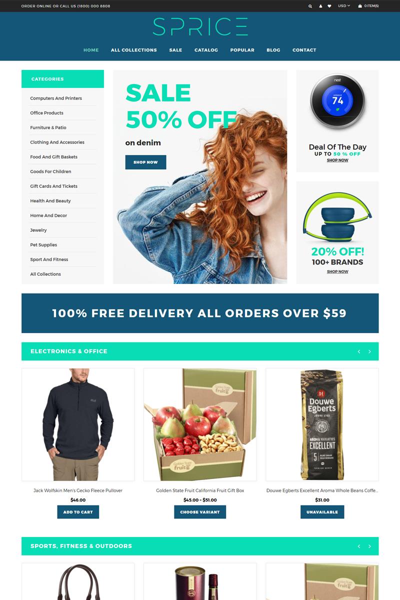 """Tema Shopify """"Sprice - Powerful Clean Bootstrap"""" #76200 - captura de pantalla"""