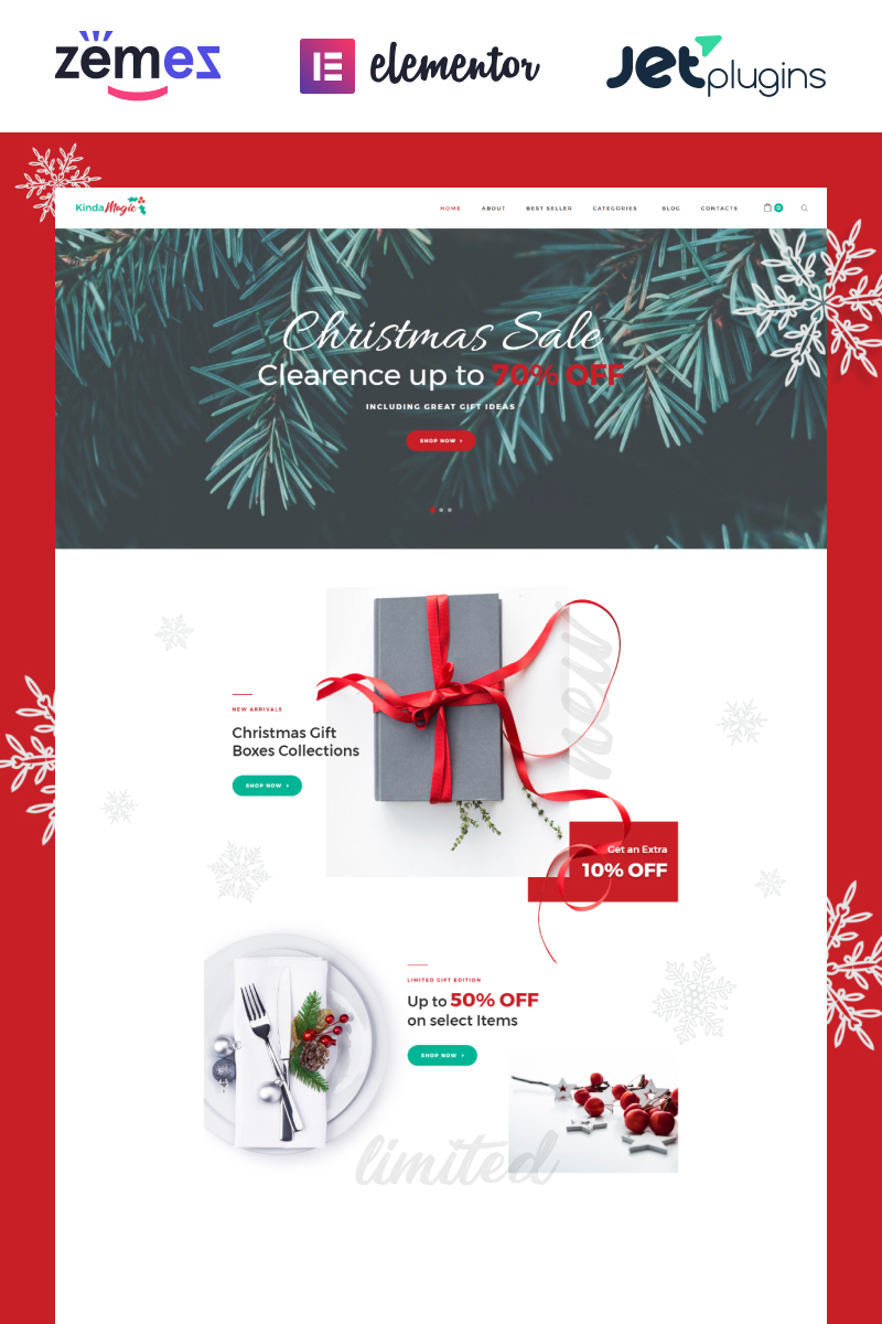 "Tema WooCommerce ""Kinda Magic - Magical And Inspiring Christmas"" #76261 - captura de pantalla"