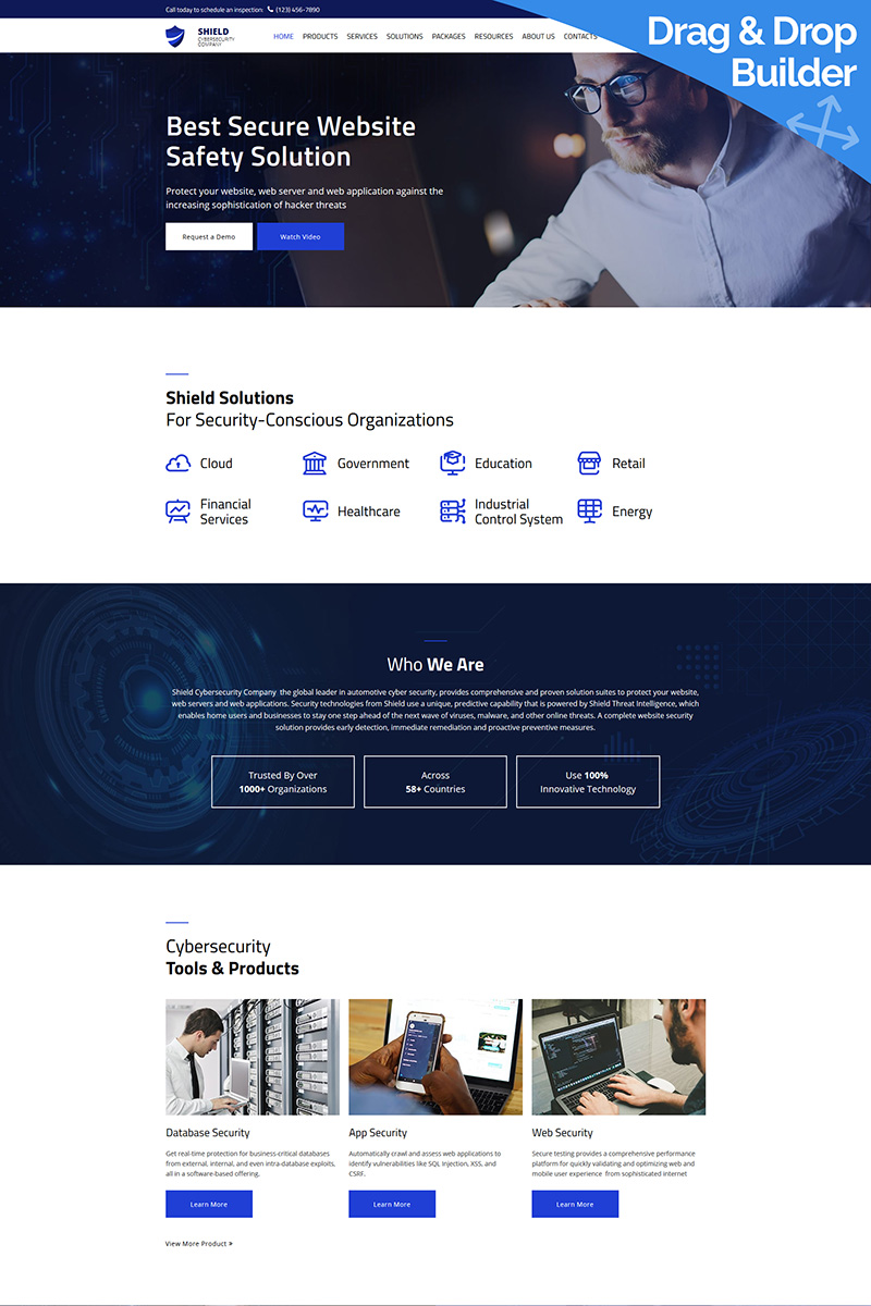 """Template Moto CMS 3 Responsive #76279 """"Shield - Cyber Security"""""""