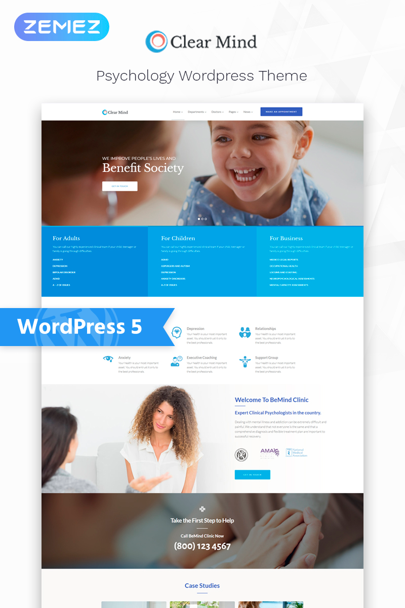 "Template WordPress Responsive #76273 ""Clear Mind - Psychological Center Multipurpose Classic Elementor"""