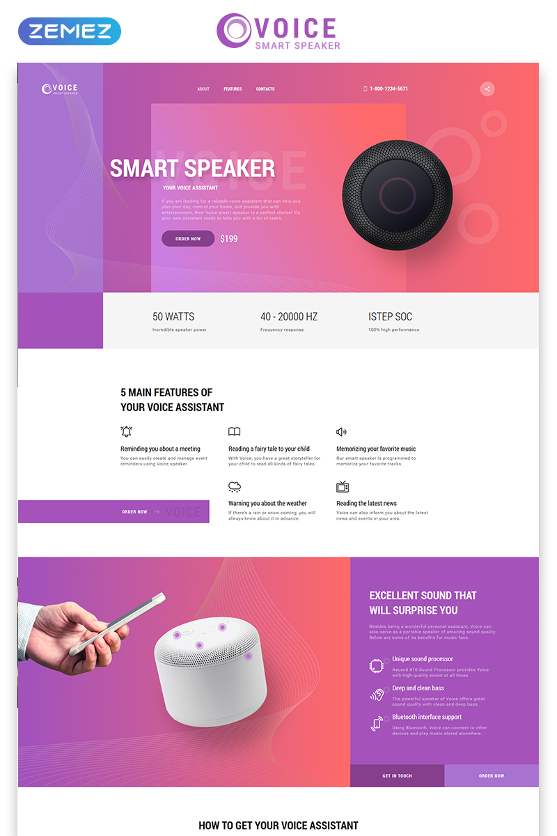 Voice - Smart Speaker One Page Creative HTML Landing Page Template - screenshot
