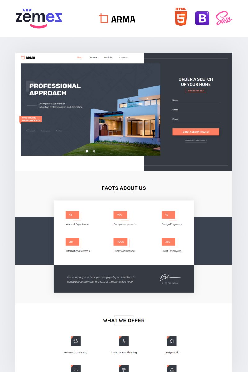 """ARMA - Construction One Page Clean HTML"" Responsive Landingspagina Template №76350"