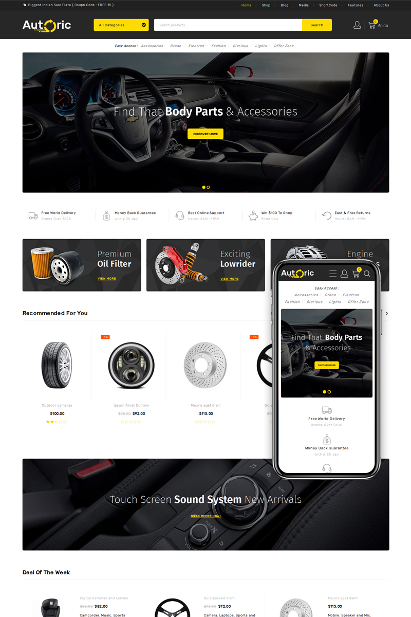 """Autoric - Spare Parts Store"" Responsive WooCommerce Thema №76375"