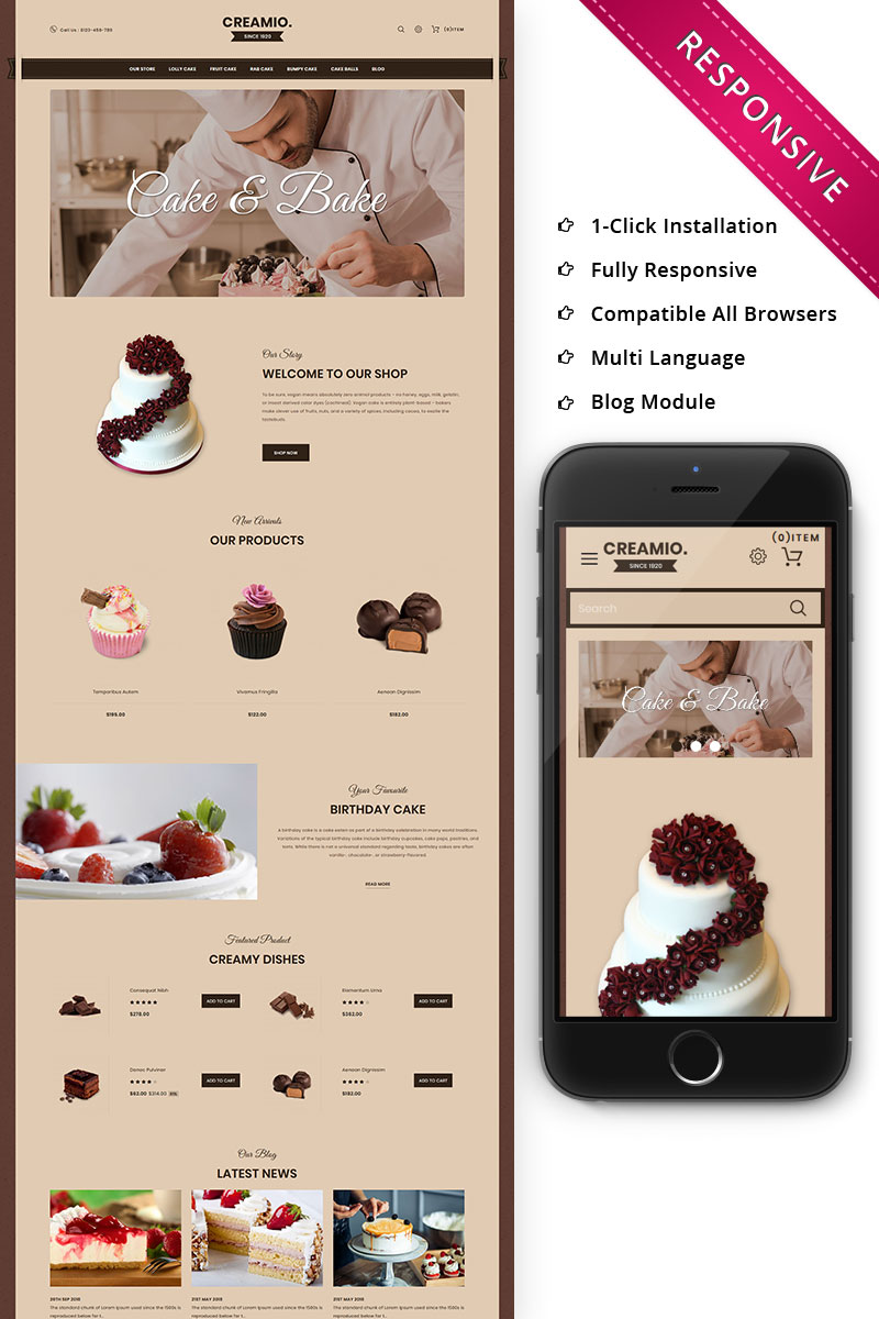 Creamio Cake Shop Responsive OpenCart Template - screenshot