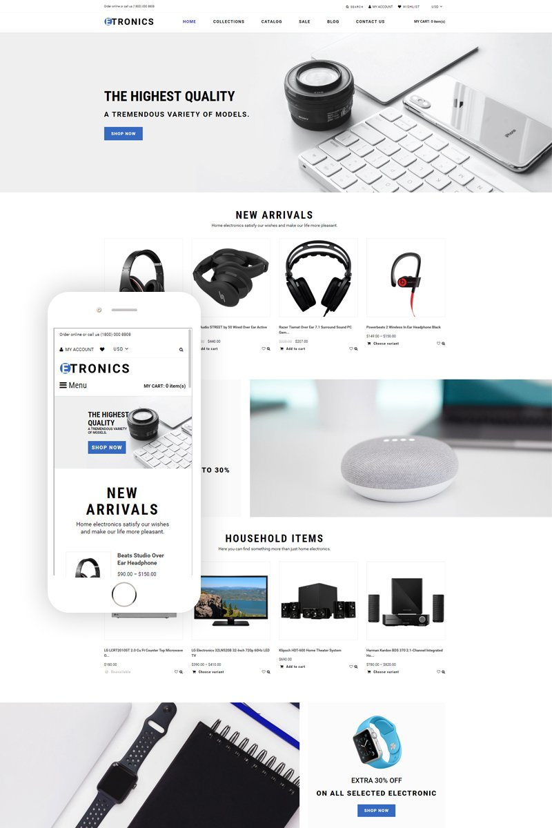 """ETRONIX - Electronics Store Ready-To-Use Minimalistic"" - адаптивний Shopify шаблон №76382"