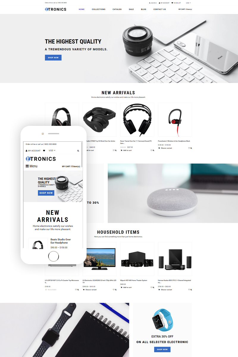 """ETRONIX - Electronics Store Ready-To-Use Minimalistic"" Responsive Shopify Thema №76382"