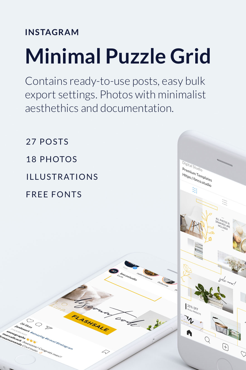 Minimal Instagram Puzzle Grid Social Media - screenshot