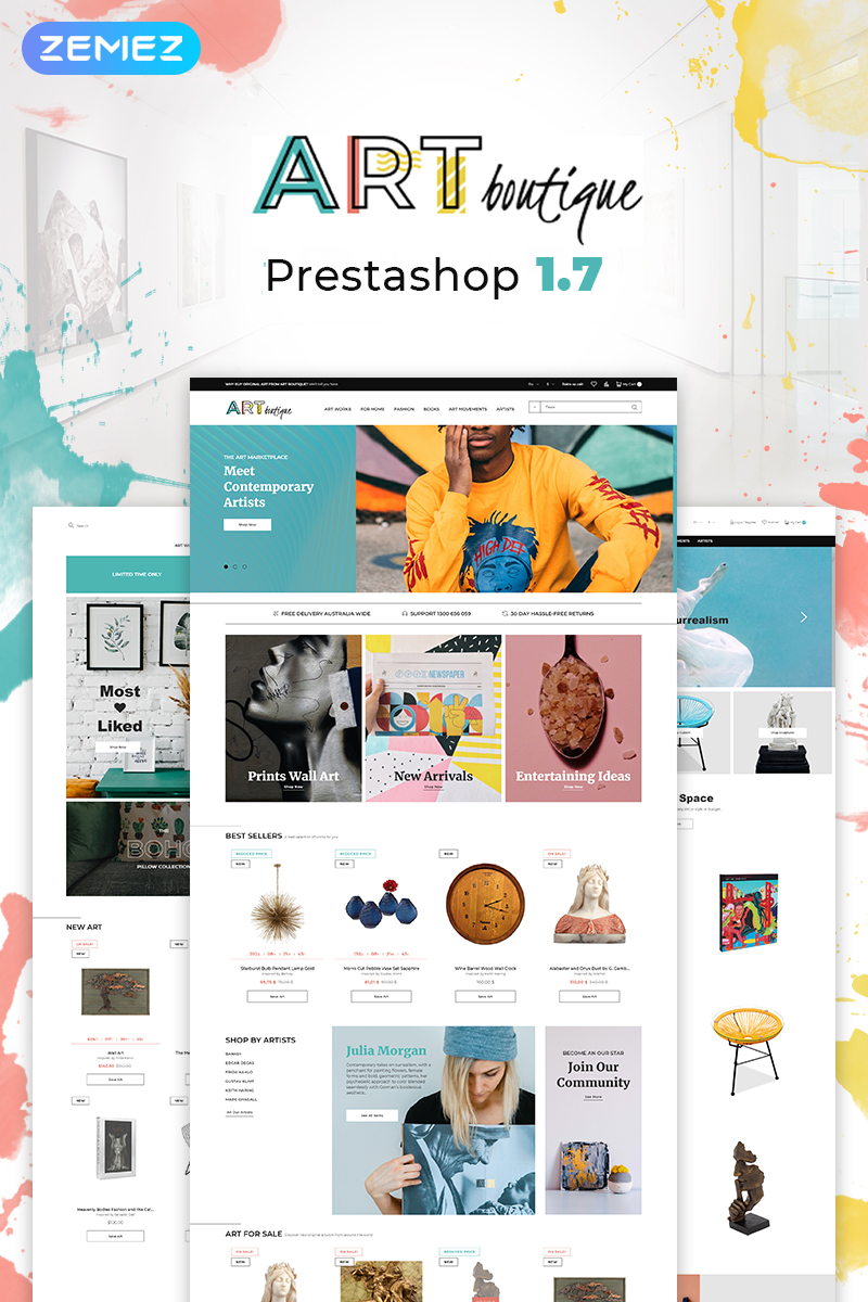 "Modello PrestaShop Responsive #76349 ""ARTboutique - Art Gallery Modern Bootstrap Ecommerce"""
