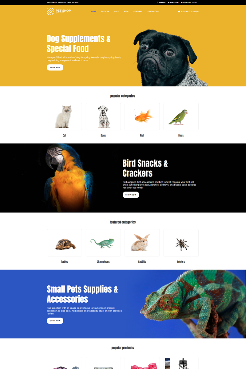 """Pet Shop - Animals Bright"" Responsive Shopify Thema №76328"