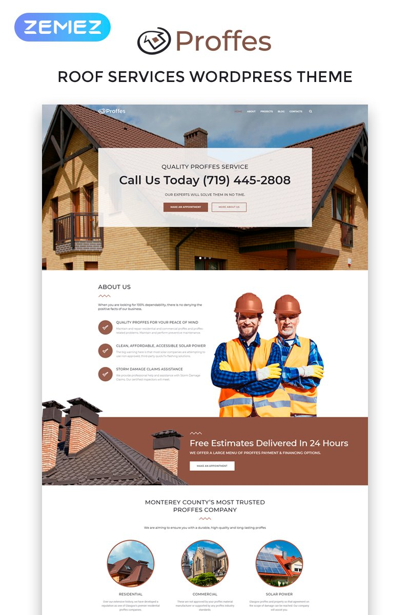 Proffes - Roof Services Multipurpose Classic Elementor WordPress Theme