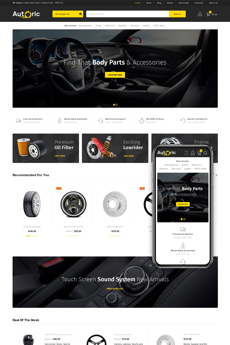 Responsive Autoric - Spare Parts Store Woocommerce #76375