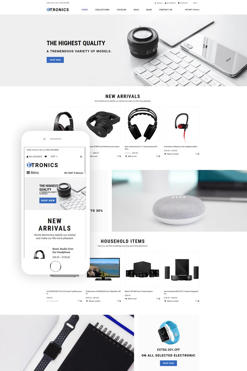 Responsivt ETRONIX - Electronics Store Ready-To-Use Minimalistic Shopify-tema #76382