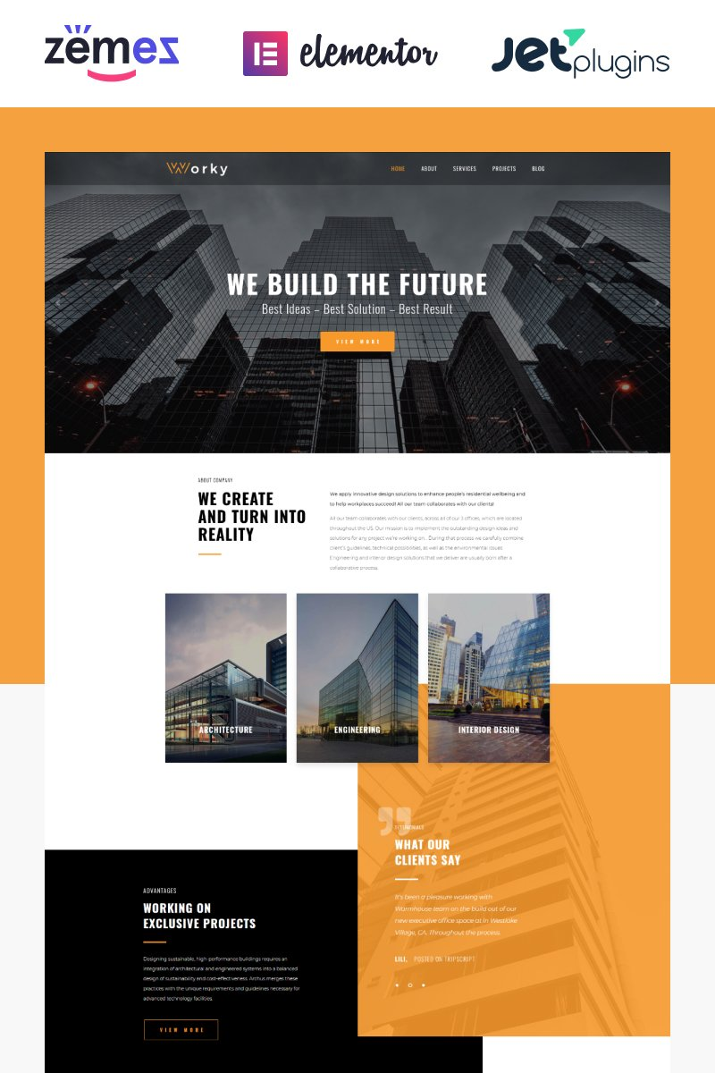 Responsivt Worky - Architectural Bureau Multipurpose Modern Elementor WordPress-tema #76333