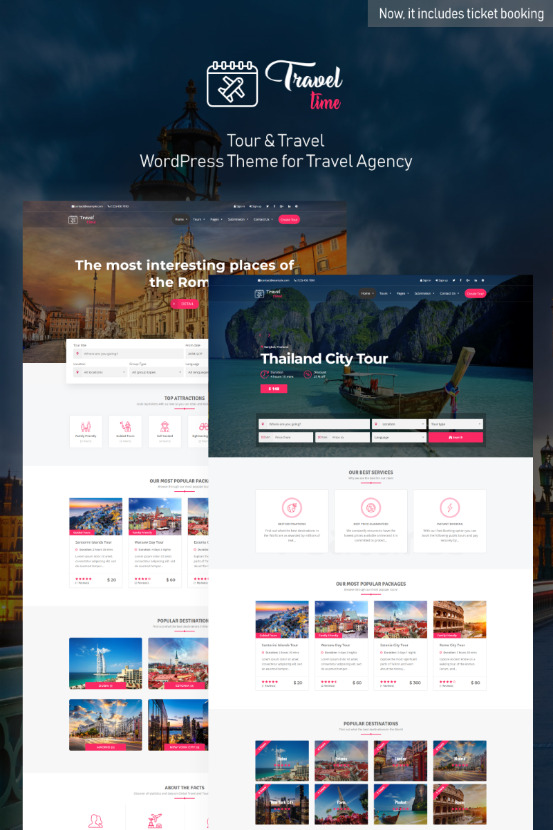 """TravelTime - Complete Tour & Travel Agency"" Responsive WordPress thema №76397"