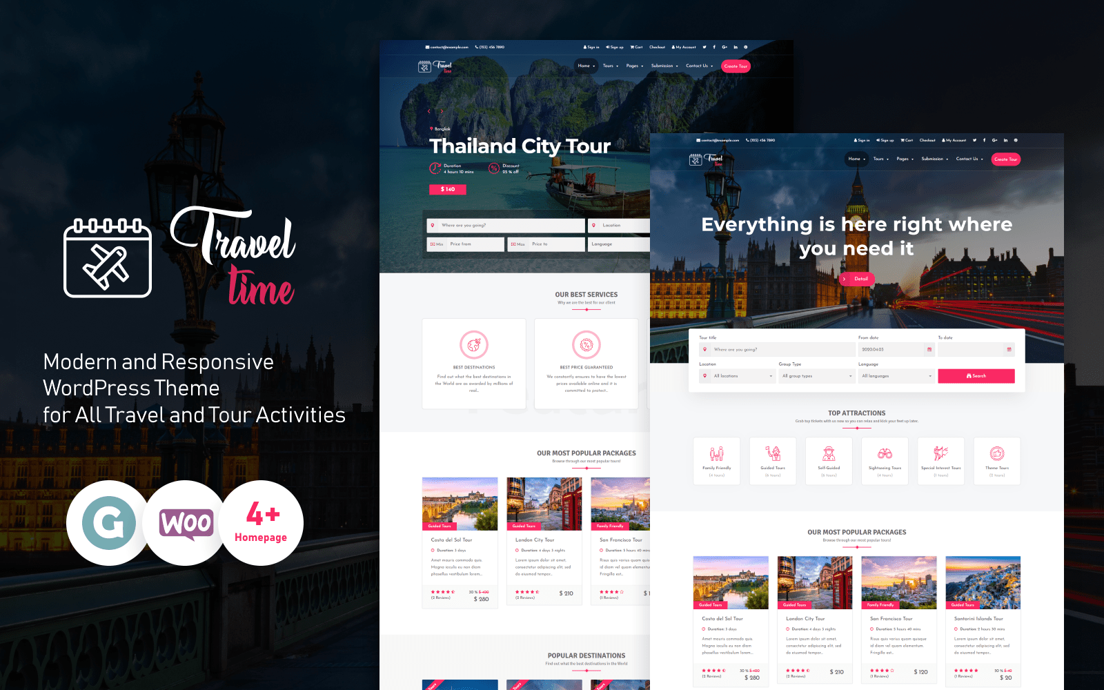 """TravelTime - Complete Tour & Travel Agency"" thème WordPress adaptatif #76397"