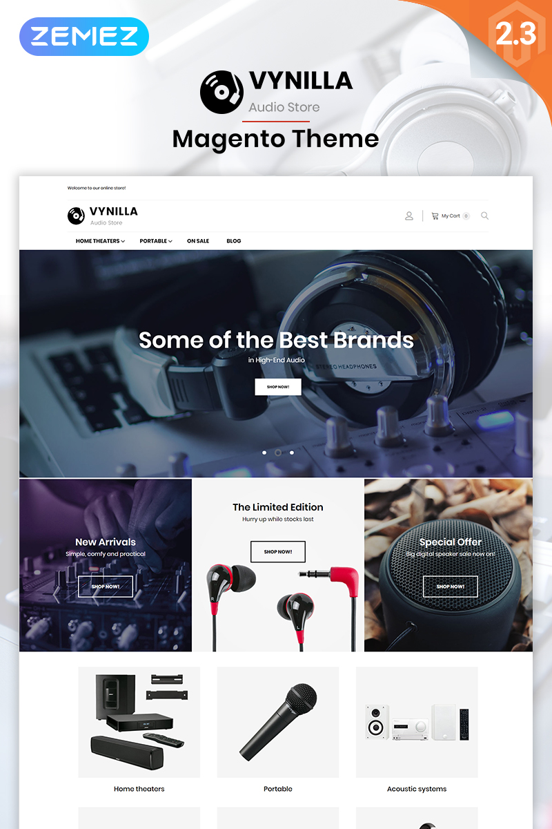 Vynilla -  AMP Audio Store Magento Theme
