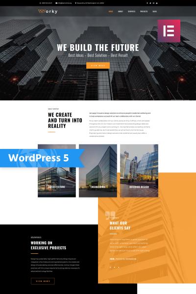 Адаптивный WordPress шаблон №76333 на тему архитектура