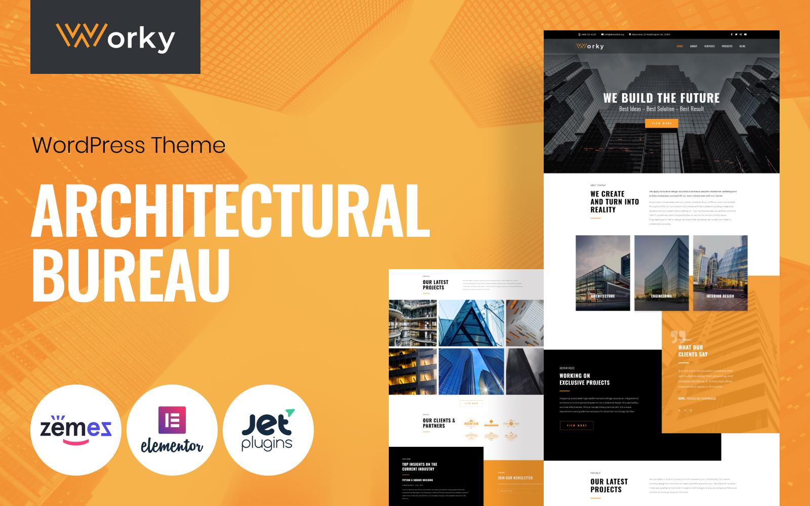 "WordPress Theme namens ""Worky - Architectural Bureau Multipurpose Modern Elementor"" #76333"