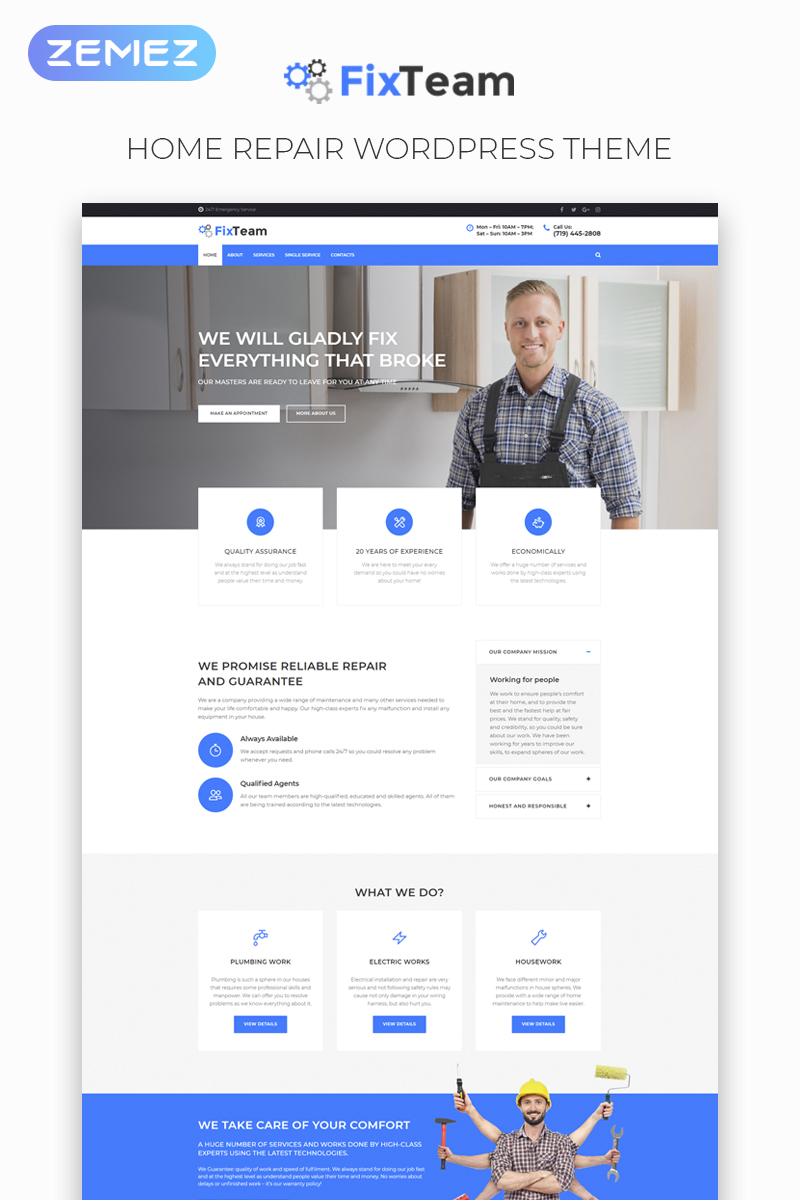 """FixTeam - Fix Services Multipurpose Classic Elementor"" - адаптивний WordPress шаблон №76462"