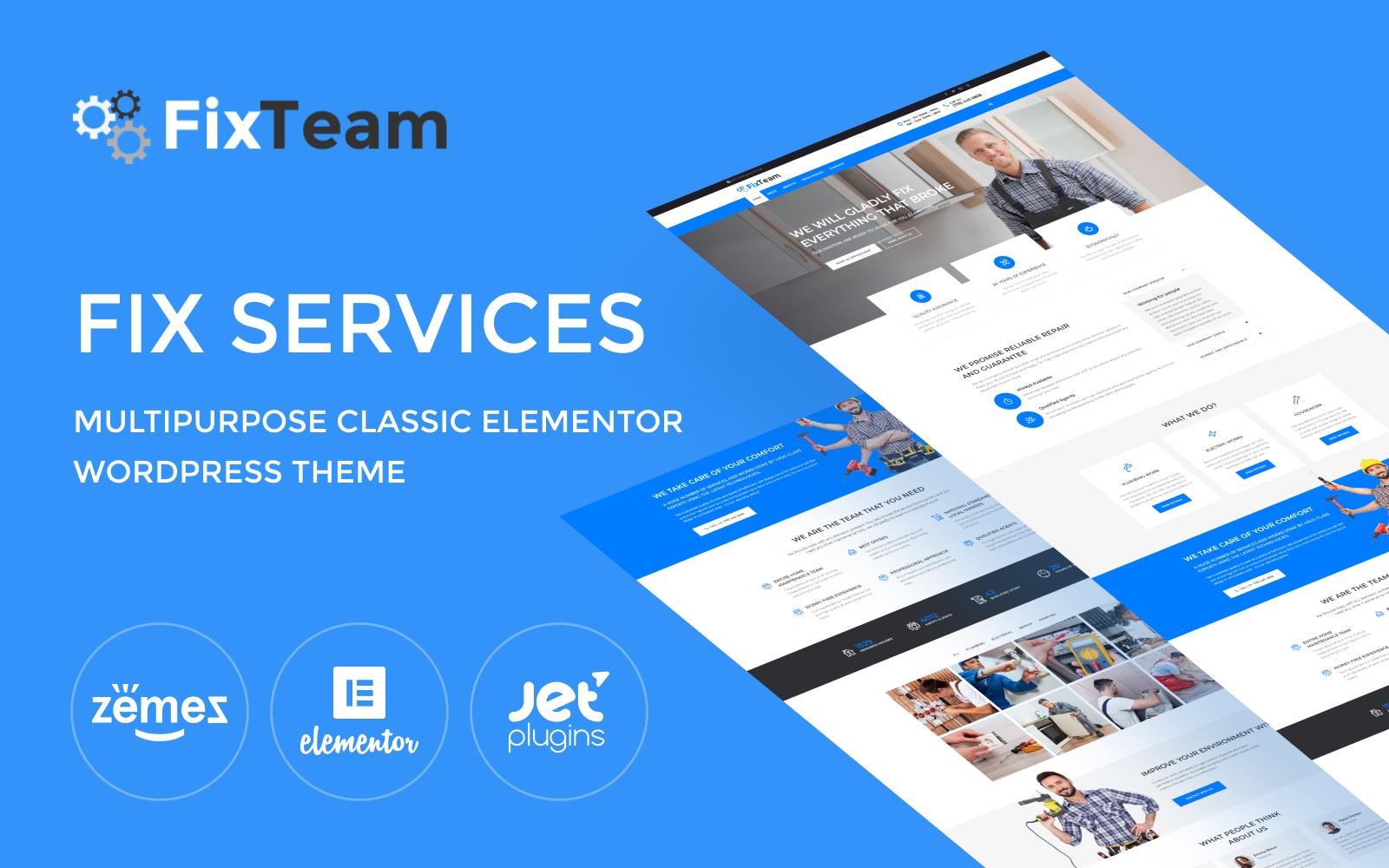 """FixTeam - Fix Services Multipurpose Classic Elementor"" Responsive WordPress thema №76462"