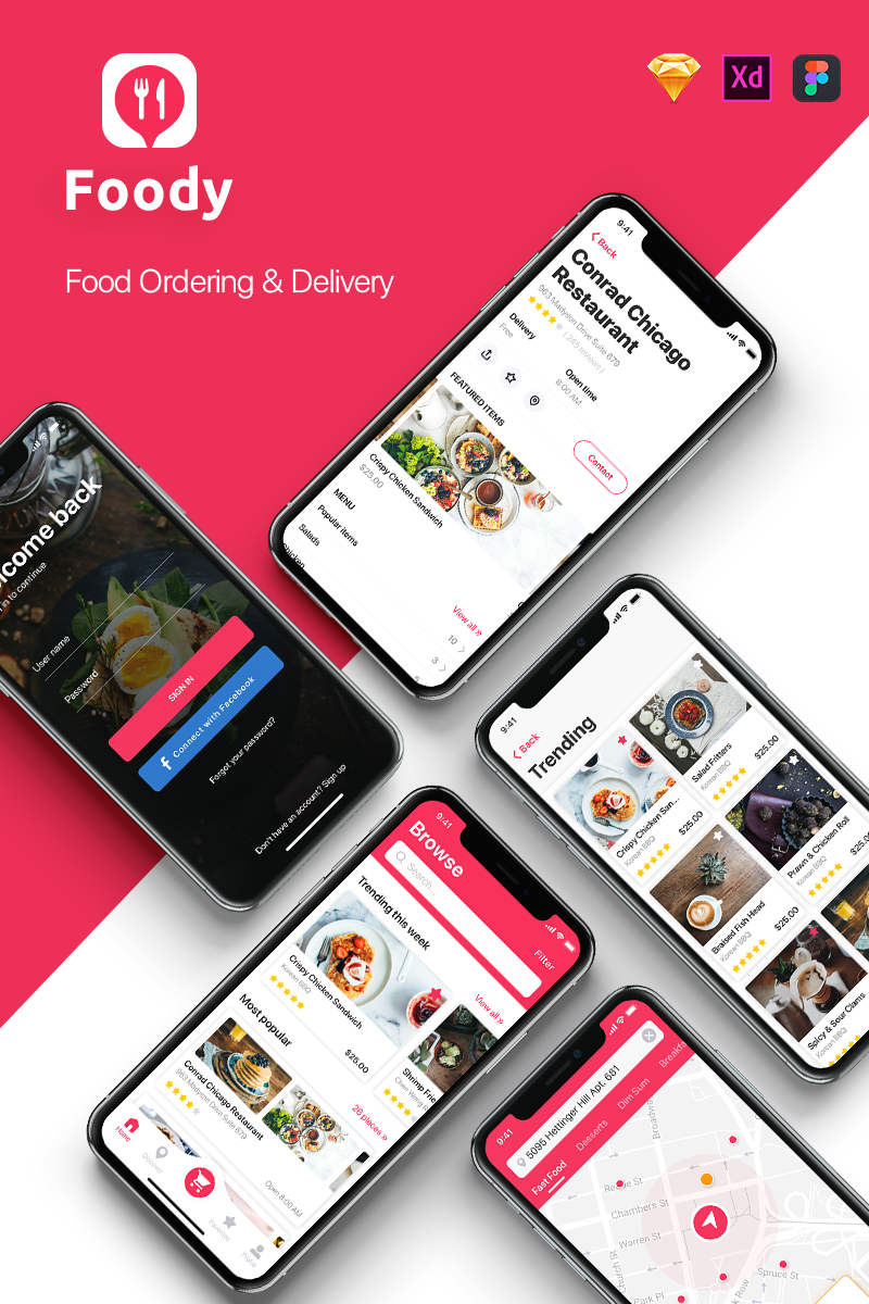 Foody - Food App UI Elements