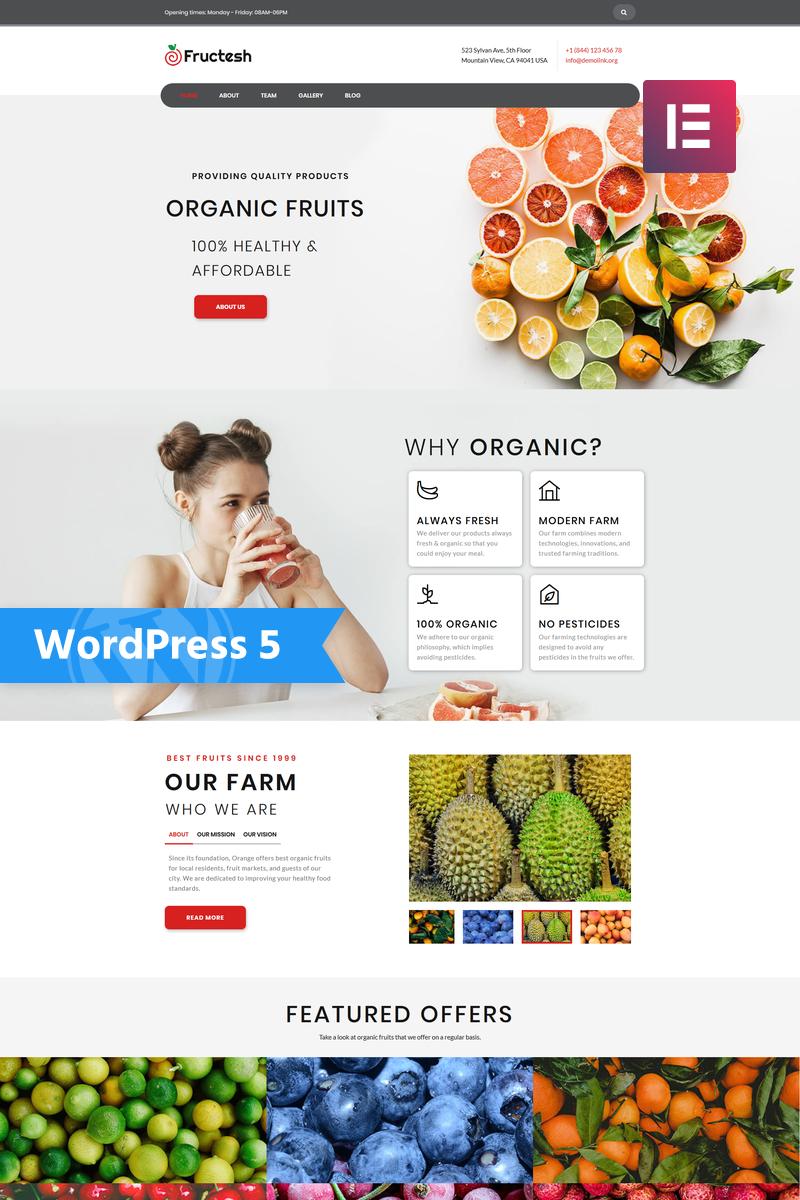 """Fructesh - Organic Fruits Delivery Multipurpose Modern Elementor"" Responsive WordPress thema №76455"