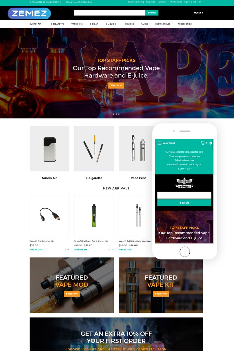 "OpenCart Vorlage namens ""Vape World - E-Cigars Responsive Fancy"" #76473"