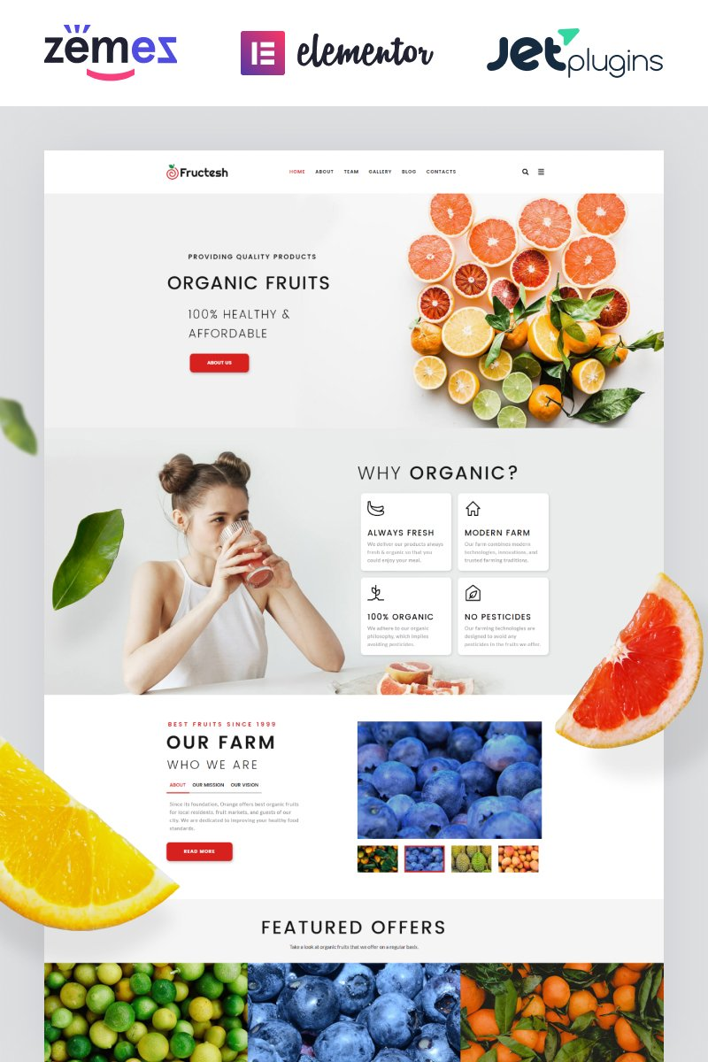 Responsivt Fructesh - Organic Fruits Delivery Multipurpose Modern Elementor WordPress-tema #76455