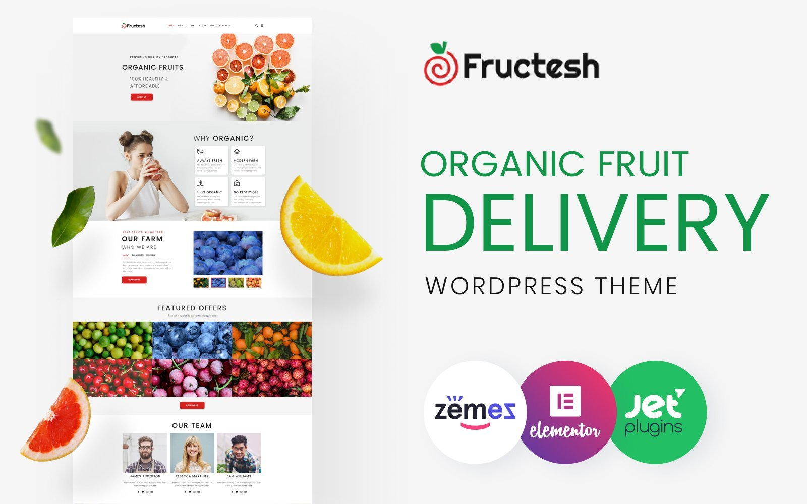 Reszponzív Fructesh - Organic Fruits Delivery Multipurpose Modern Elementor WordPress sablon 76455