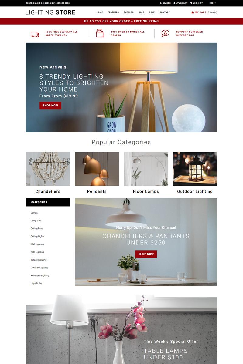 "Shopify Theme namens ""Lighting Store - Lighting Responsive Practical"" #76484"