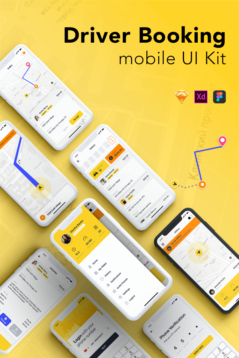 """Taxi Driver Booking UI Kit"" modèle Sketch  #76438 - screenshot"