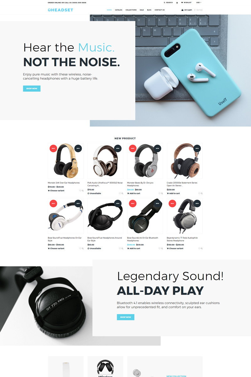 """Tema Shopify Responsive #76443 """"Headset - Dynamic Flawless Bootstrap"""""""