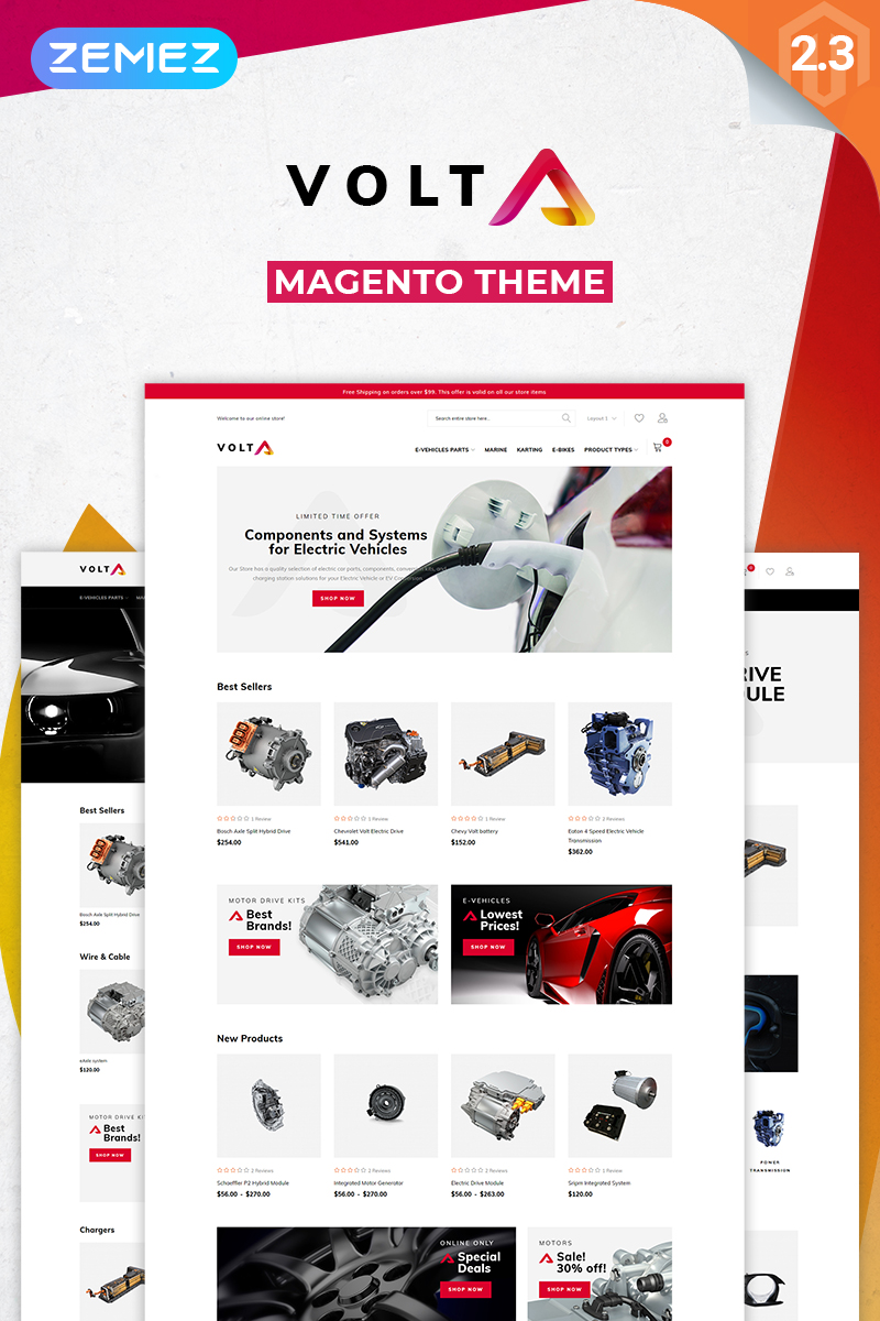 """Volta - Electric Vehicles Parts and Components Minimal"" thème Magento  #76482"