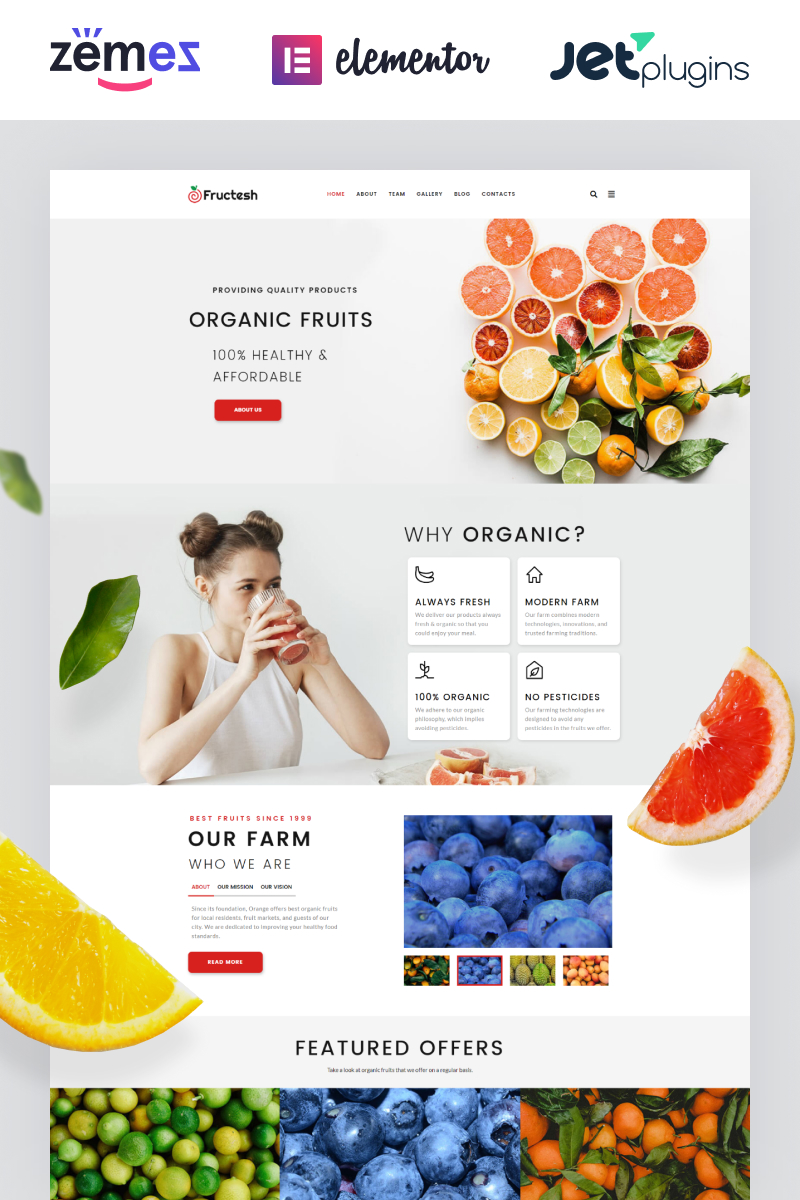 "WordPress Theme namens ""Fructesh - Organic Fruits Delivery Multipurpose Modern Elementor"" #76455"